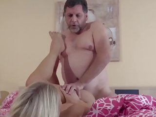 chick sucks on old dudes dick and then takes it deep inside