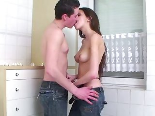 intense sex in the bathtub for a horny teen