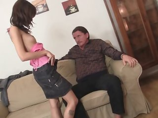 petite mini tits girl gets her pussy licked by old man