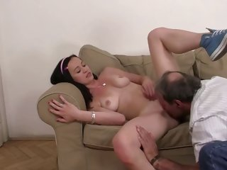 guy finds girlfriend riding his old dad's cock!